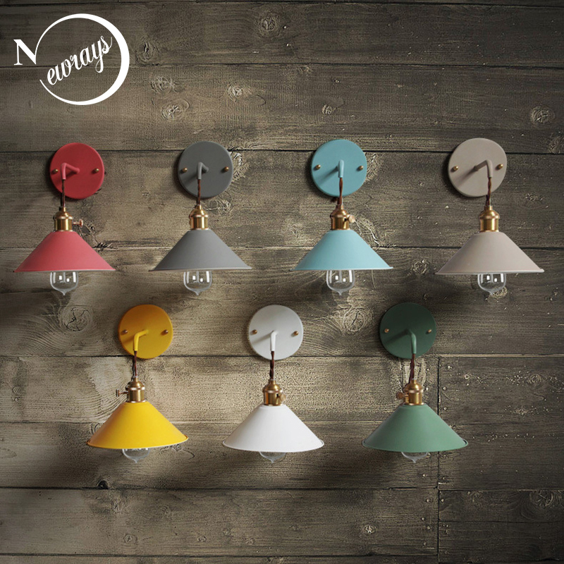 Country industrial iron wall lamp simple modern wall light LED with 7 colors for bedroom dining room restaurant cafe shop aisle american country antique wooden dining room bedroom wall lamp simple aisle stairs lighting