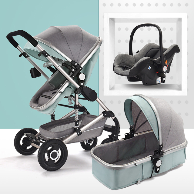 Multifunctional 3 in 1 Baby Stroller High Landscape Folding Carriage Gold Baby Stroller
