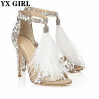 Top Sale Crystal Embellished White High Heel Sandals With Feather Fringe Rhinestone Sandals Bridal Wedding Shoes Women Pumps