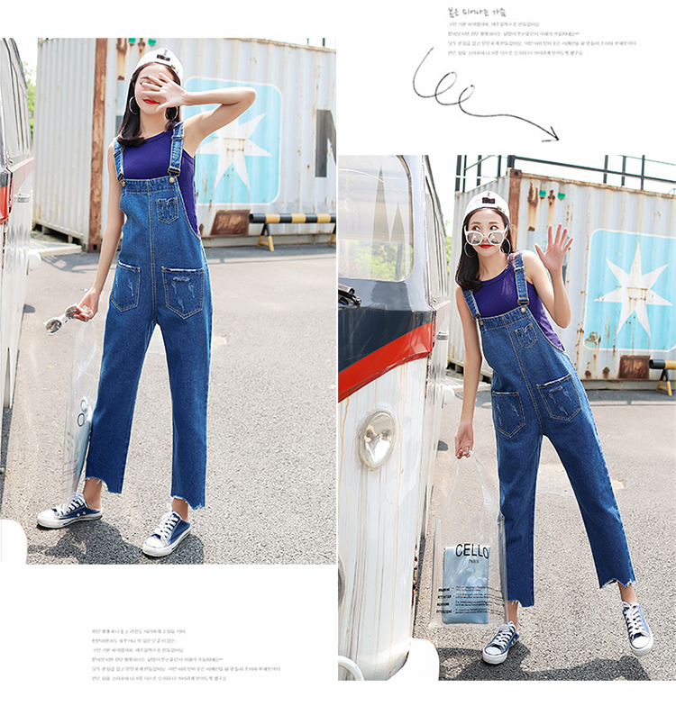 Stylish suspender jeans. College style, casual denim pants. (28)