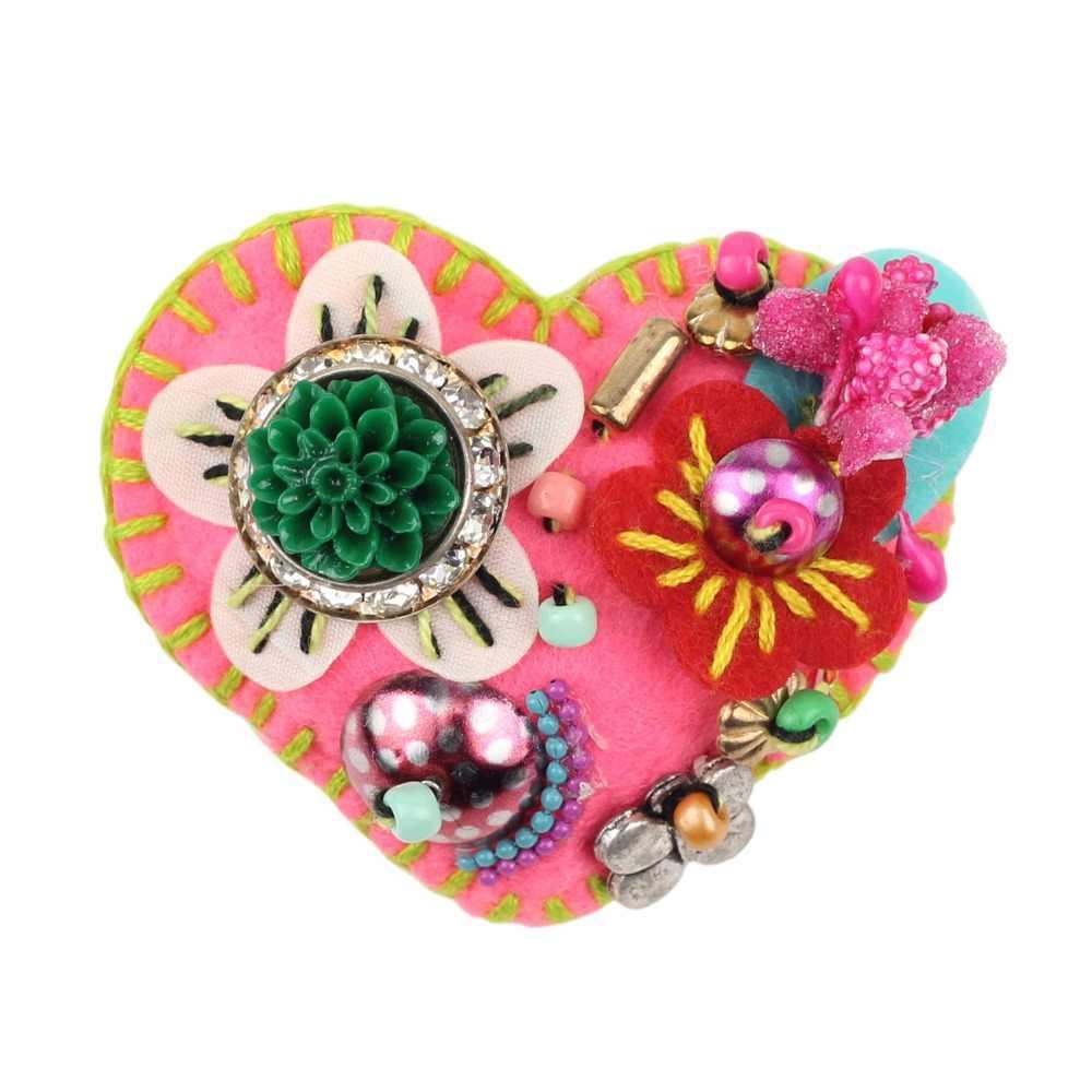 Bonsny Bahan Katun Jantung Bentuk Bunga Bros Untuk Wanita Bros Pernikahan Pin Untuk Kerah Jas Syal Dekorasi Fashion Perhiasan