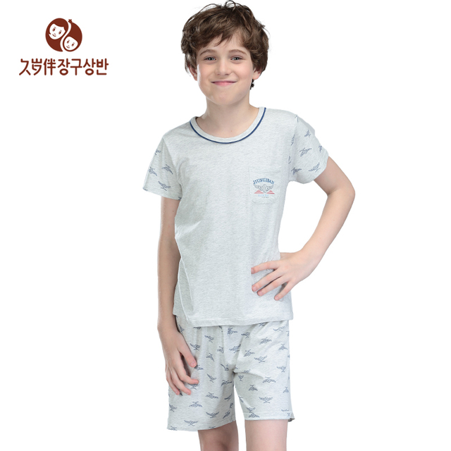e10b6f5ac1 Summer Boys Clothing Set Kids Pajamas Cool Housecoat Nighty Children  Bedgown Sleepwear shirts home children clothing a set 2501
