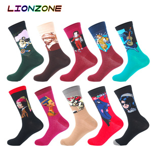 Image 1 - 10 Pairs Lot Pack Men Socks Funny Combed Cotton Character Oil Painting Wedding Gift Designer Dress Male Happy Socks + Free Gift