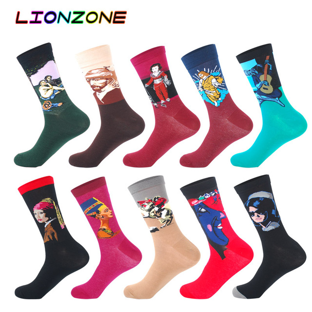 10 Pairs Lot Pack Men Socks Funny Combed Cotton Character Oil Painting Wedding Gift Designer Dress Male Happy Socks + Free Gift