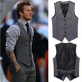 Men's boutique autumn 2016 quality slim fit leisure cotton suit vest Male gentleman Beckham business black vest