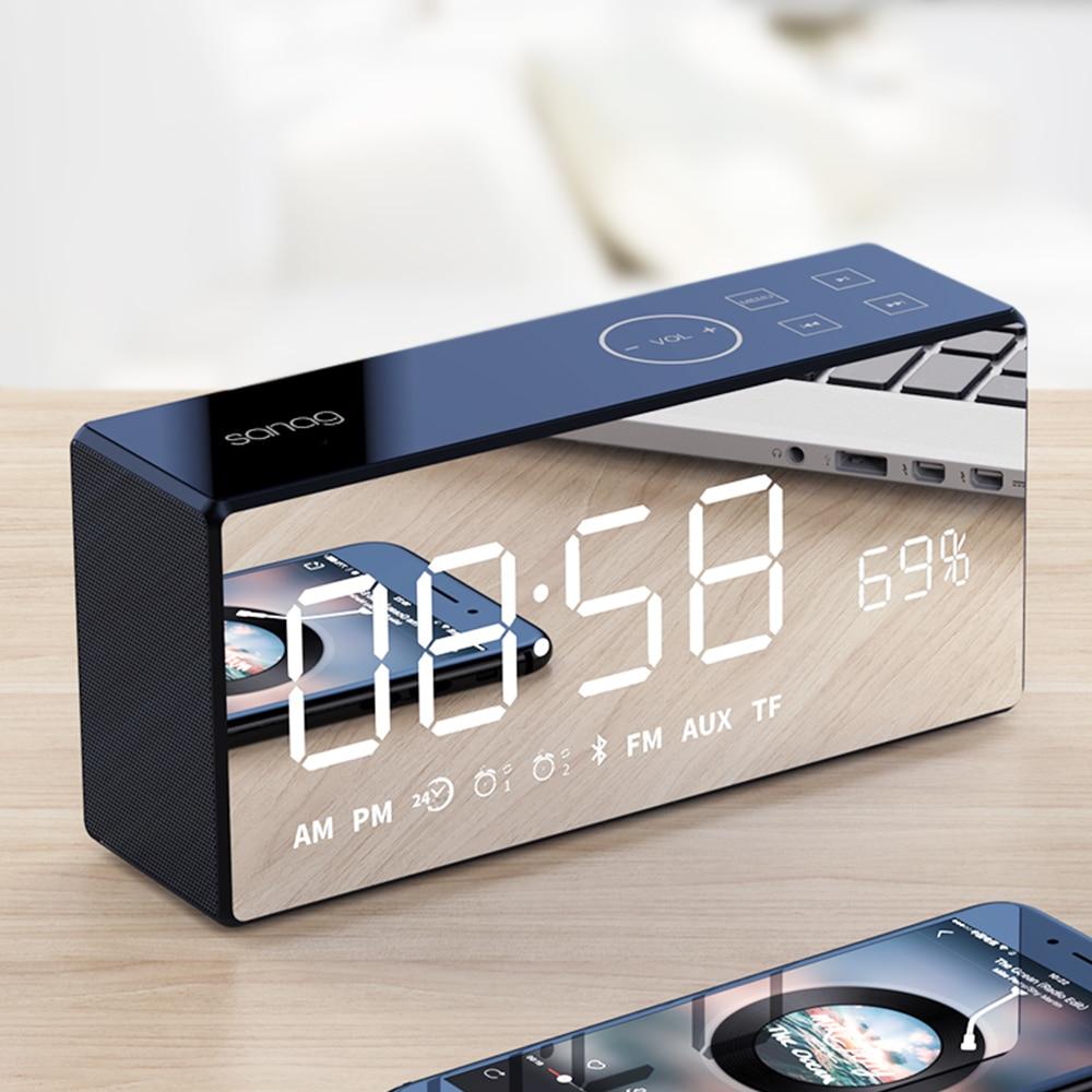 Sanag &SAGO X9 Bluetooth Metal Portable Super Bass Wireless Mirror Remote Control Speaker 3D Digital Sound Loudspeaker Handfree цена