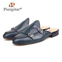Piergitar/Новинка 2018 года; стильные мужские кожаные шлепанцы ручной работы темно синего цвета; модные вечерние мужские лоферы для выпускного ве