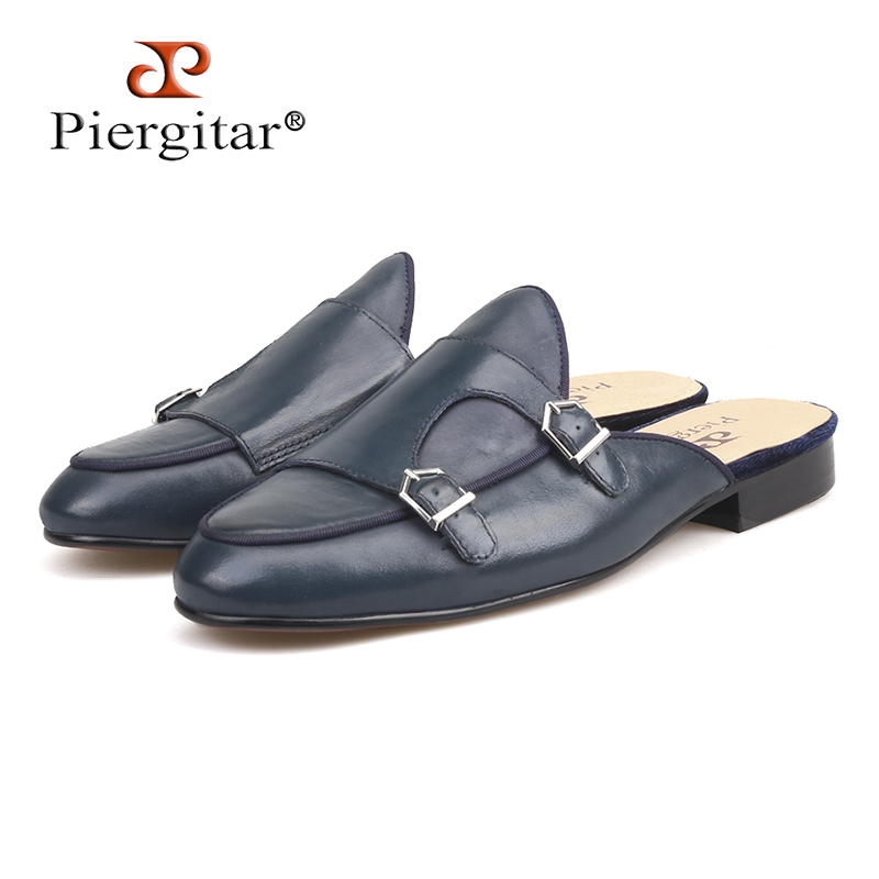 Piergitar 2018 new style Navy colors Handmade men's leather slippers Fashion party and prom men half designs loafers plus size недорго, оригинальная цена