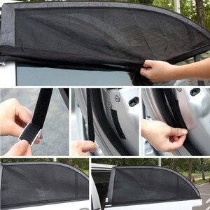 Image 4 - 2Pcs רכב חלון כיסוי שמשיה וילון UV הגנת מגן שמש צל רשת שמש יתושים אבק הגנה