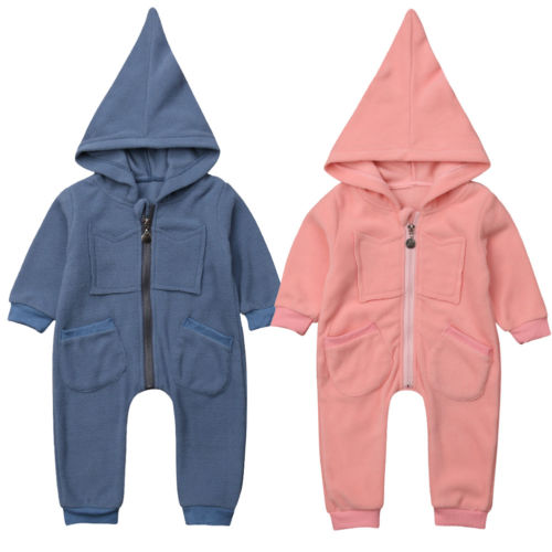 Newborn Baby Girls Clothing Warm Hooded Romper Jumpsuit Playsuit Long Sleeve Warm Soft Clothes Outfits Baby Girl Winter 0-24M