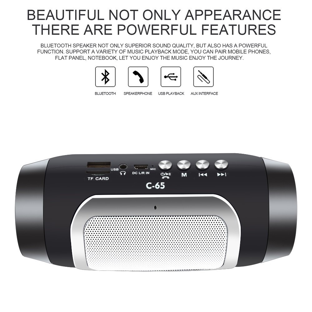 TOPROAD HIFI Portable Wireless Bluetooth Speaker With TF Support FM Radio And Sub Woofer Column Speakers 4