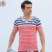 2016 New Brand Men T shirt Casual V neck Short Sleeve Tees Stripe Fashion Style Summer