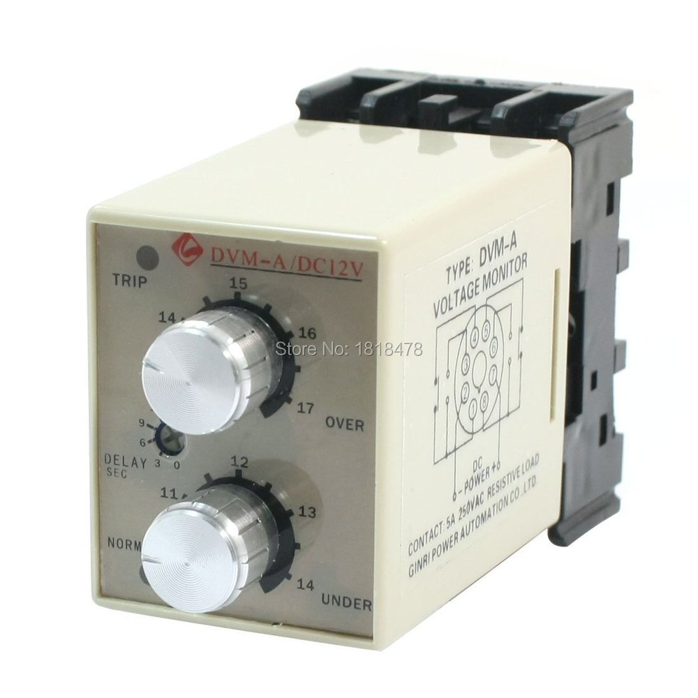 DVM-A/12V DC 12V DC24V DC48V Adjustable Over/Under Voltage Monitoring Relay цены