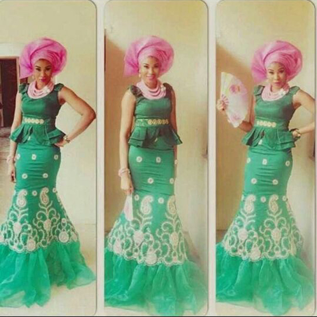 2017 nigerianischen Abendkleid Medium Frühjahr Grüne Afrikanische ...