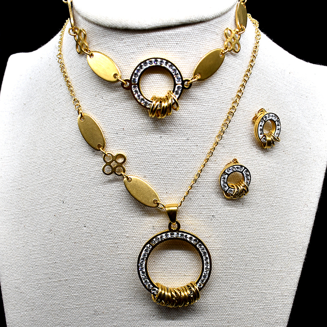AMUMIU Earrings Bracelet Necklace Set Womens Stainless Steel Gold Color  Jewelry Sets nigerian african costume Jewellery KTZ045 ba0d053909
