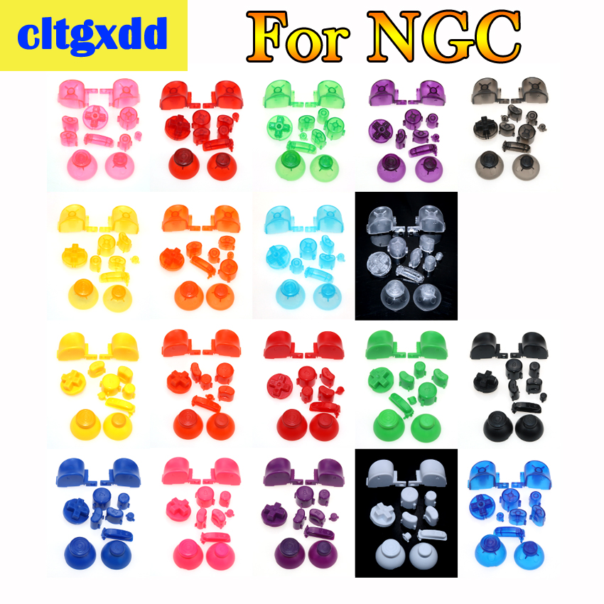 Cltgxdd Full Button Sets Mod Replace Dpad ABXY Trigger Thumbstick Parts For Gamecube For N GC Controller 3D Thumbsticks Caps