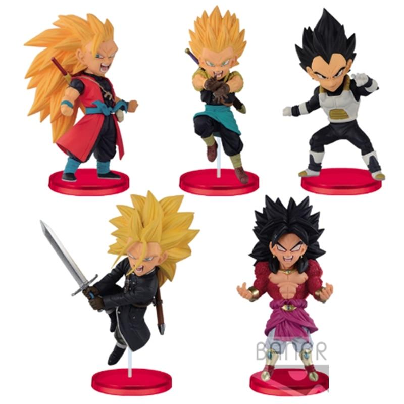WSTXBD 5Pcs/Set Original BANPRESTO Dragon Ball Z Heroes WCF-7th SSJ4 Goku Trunks Vegeta Action Figure Brinquedos Toys Figurals