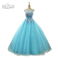 New Real Photo Ice Blue Long Prom Dresses 2018 Elegant Beaded Neck 3D Floral Lace Floor