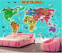 Custom Papel DE Parede Infantil Cartoon World Map Murals For Children Room Boys And Girls Bedroom