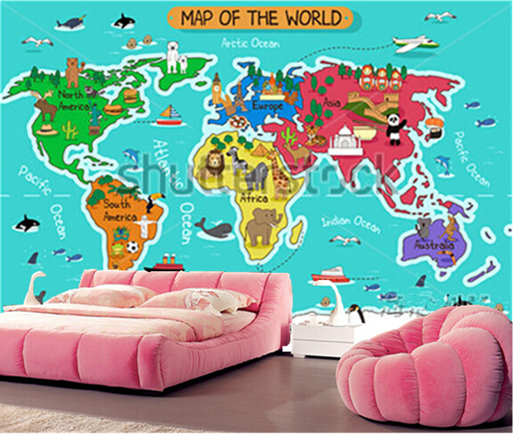 Custom Papel De Parede Infantil Cartoon World Map Murals For