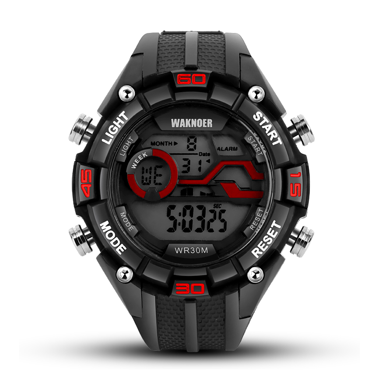 WAKNOER 30m Waterproof Digital Watch Men Watch Military Men's Watch Electronic LED Sport Watches Clock saat relogio masculino