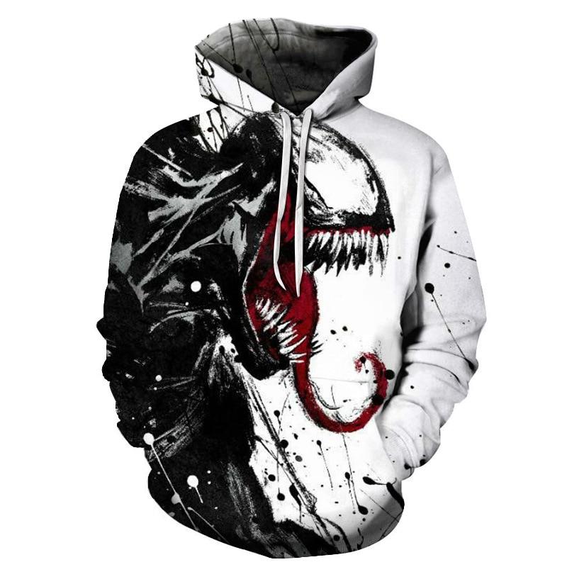 2019 Fashion Women//Men Spider Venom 3D Print Casual Hoodies Sweatshirt