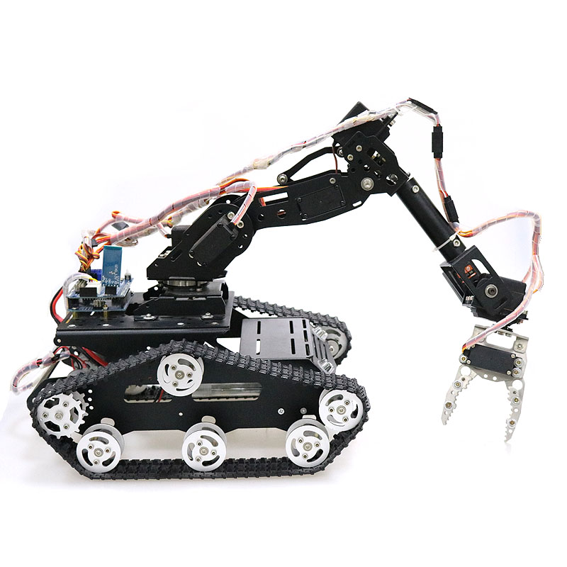 US $236 0 |WiFi/Bluetooth/Handle control Mobile Robot Arm Robotic Gripper  with Metal Tank Chassis for DIY RC Robot Model Kit-in RC Tanks from Toys &