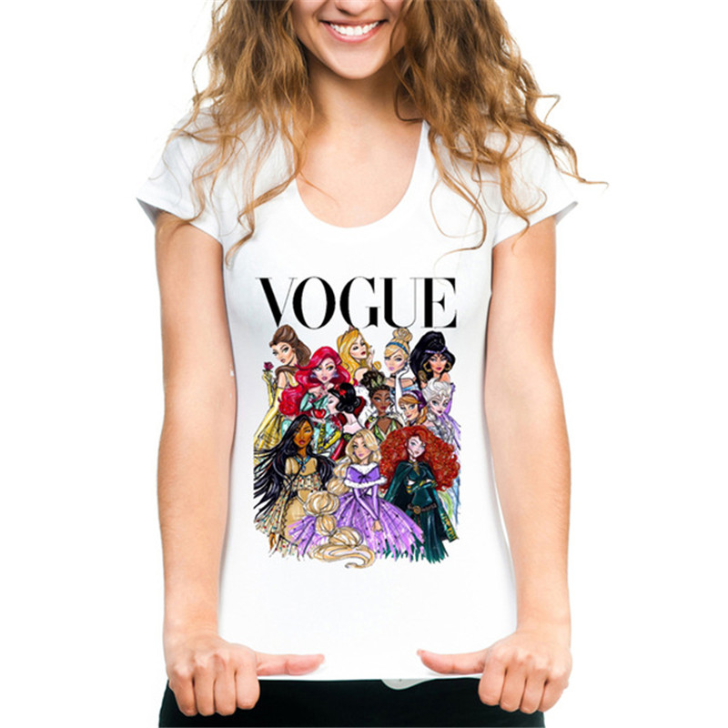 Punk Style VOGUE Princess Printed   T     Shirt   Summer Fashion Women   T  -  Shirt   Funny Harajuku Short Sleeve Tops