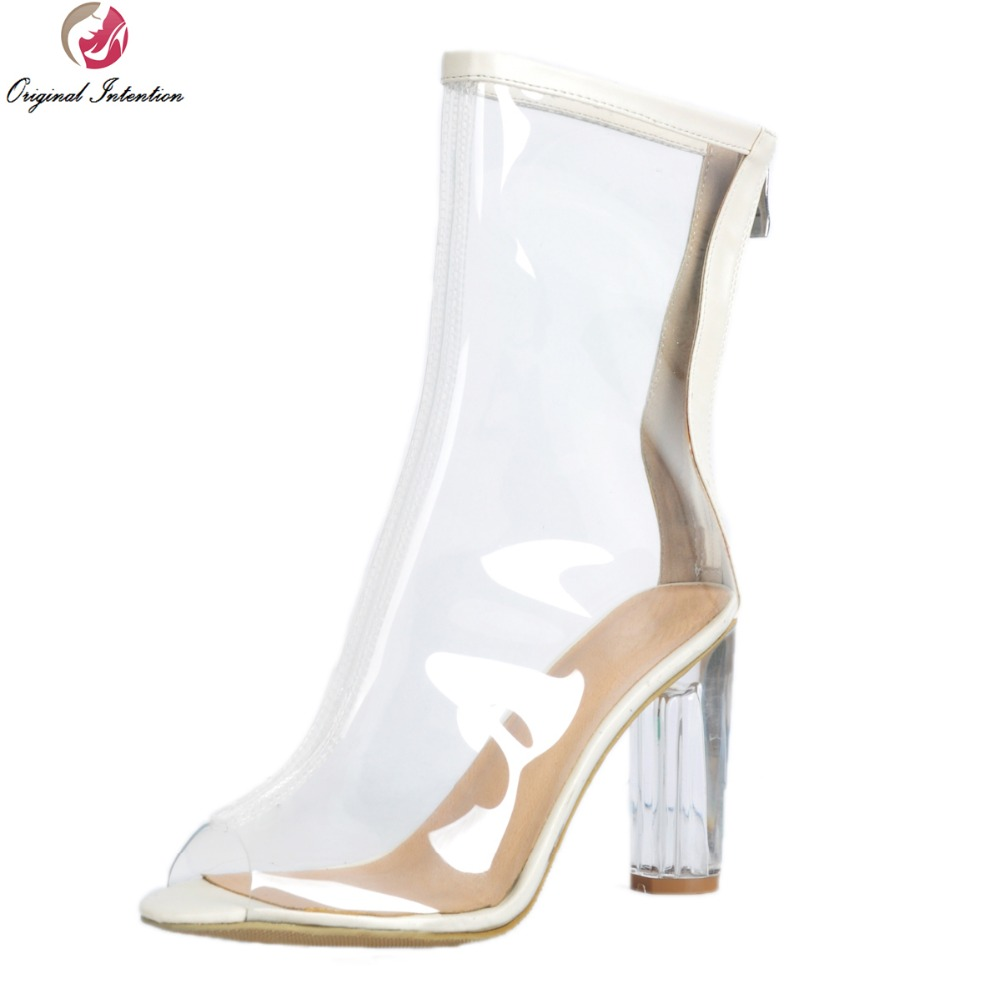 Фотография Original Intention Stylish Women Ankle Boots Fashion Boots High-quality Transparent Shoes Woman US Size 4-9.5