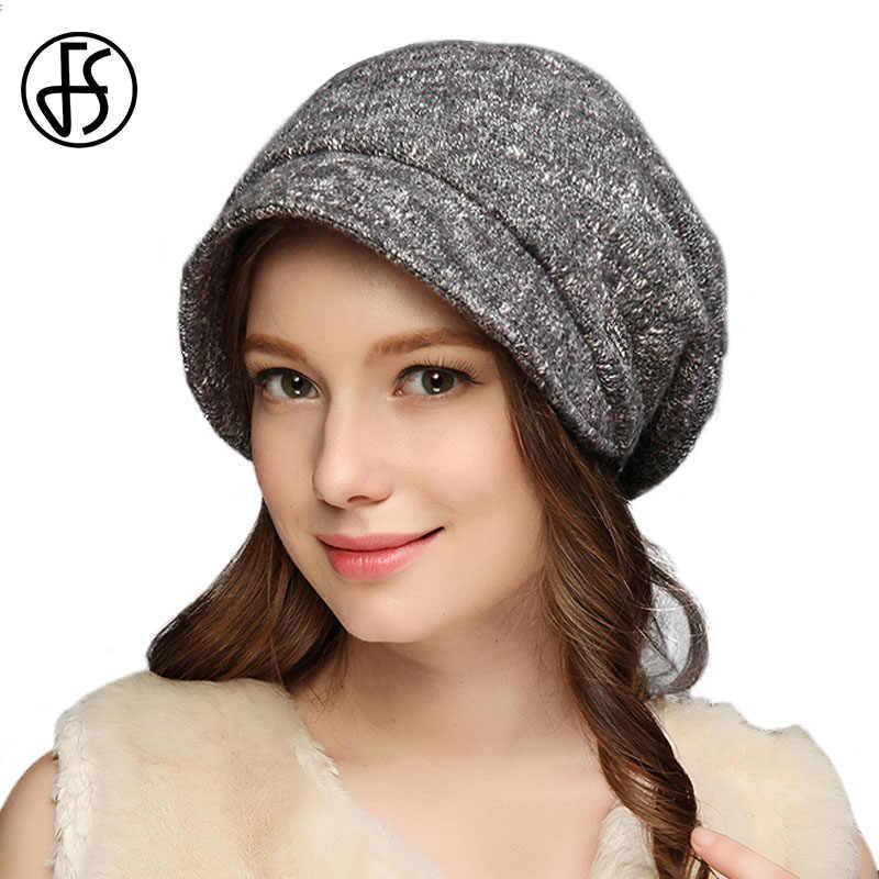 FS de alta calidad de las mujeres de la moda de invierno sombrero gris vino  rojo e4314e68e75