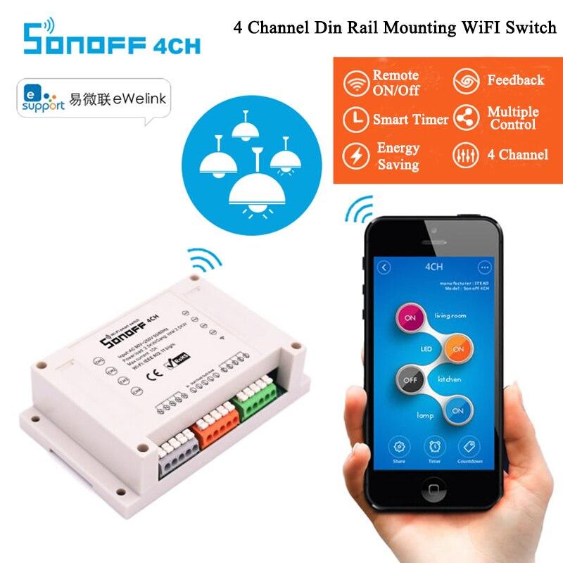 Sonoff 4CH Smart WiFi Switch 4-Gang Wireless Switches Din Ras