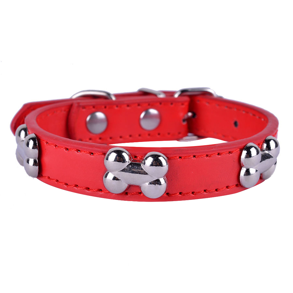 Bone Shape Fashion Puppy Necklace Dog Pin Buckle Faux Leather Collar Pet Supply