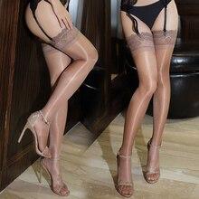 Женские кружевные чулки размера плюс, чулки до бедра для ночных клубов, сексуальные чулки черного цвета