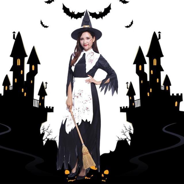 One Set Witch Costumes Cosplay Party Dress Halloween Costumes Adult Womenu0027s  Horror Bloody Witch Long Dress