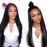 EAYON волос Glueless Синтетические волосы на кружеве парик натуральные волосы бразильские волосы прямые Реми парики для Для женщин предварительн