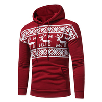 2017 New Men S Fashion Safe Deer Printing Casual Hooded Sweatshirt Tide Men S Large Korean