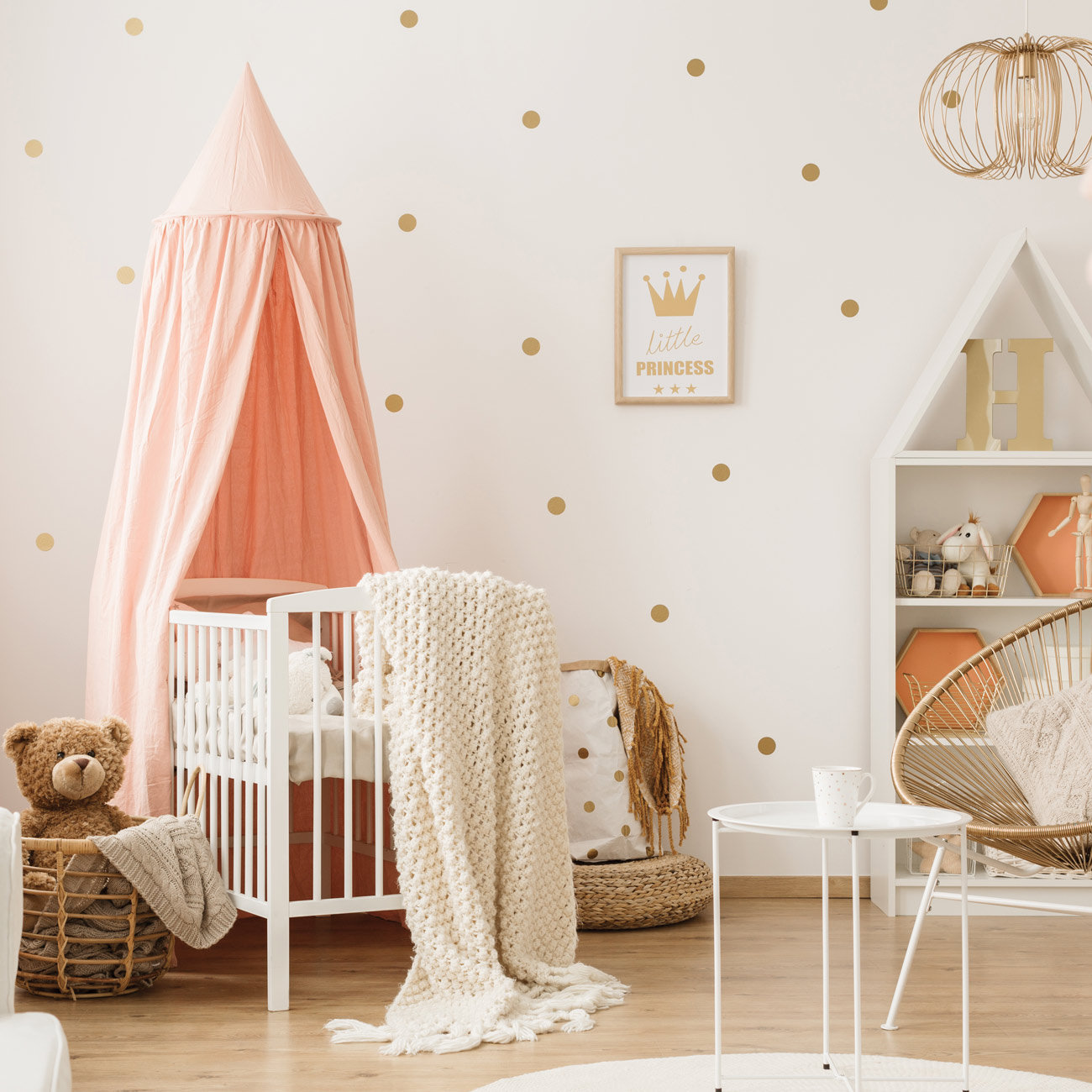 Gold Polka Dots Kids Room Baby Room Wall Stickers Children Home Decor Nursery Wall Decals Peel and stick vinyl decals JJ001