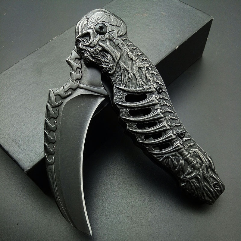 High Quality Stonewash Folding Blade Tactical Knife Skull Death Engrave Tactical Camping Hunting Karambit Claw Collection Gifts(China)