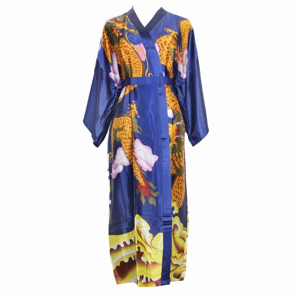 Nam Nữ In Áo Dây Trung Quốc Vintage Áo Choàng Tắm Rồng Kimono Sexy Unisex Váy Ngủ Rayon Rời Váy Ngủ Satin Negligee Một Kích Thước