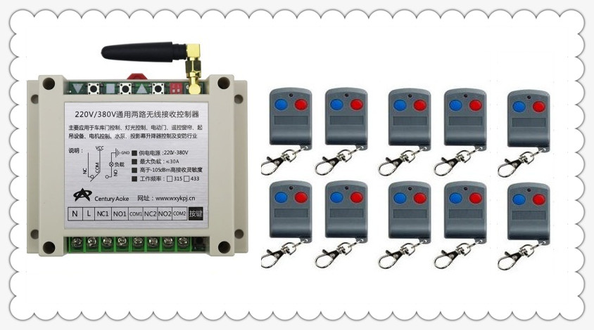 2017 New AC220V 250V 380V 30A RF 2CH RF Remote Control Switch System 10X Transmitter + 1 X Receiver 2ch relay smart home z-wave new dc12v 2ch rf remote control switch system teleswitch 1 x transmitter 1 x receiver 2ch relay smart home z wave 315 433 mhz