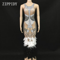 Модное дизайнерское платье со стразами и перьями, одежда для дня рождения, стрейчевое цельнокроеное платье с камнями, длинное вечернее плат