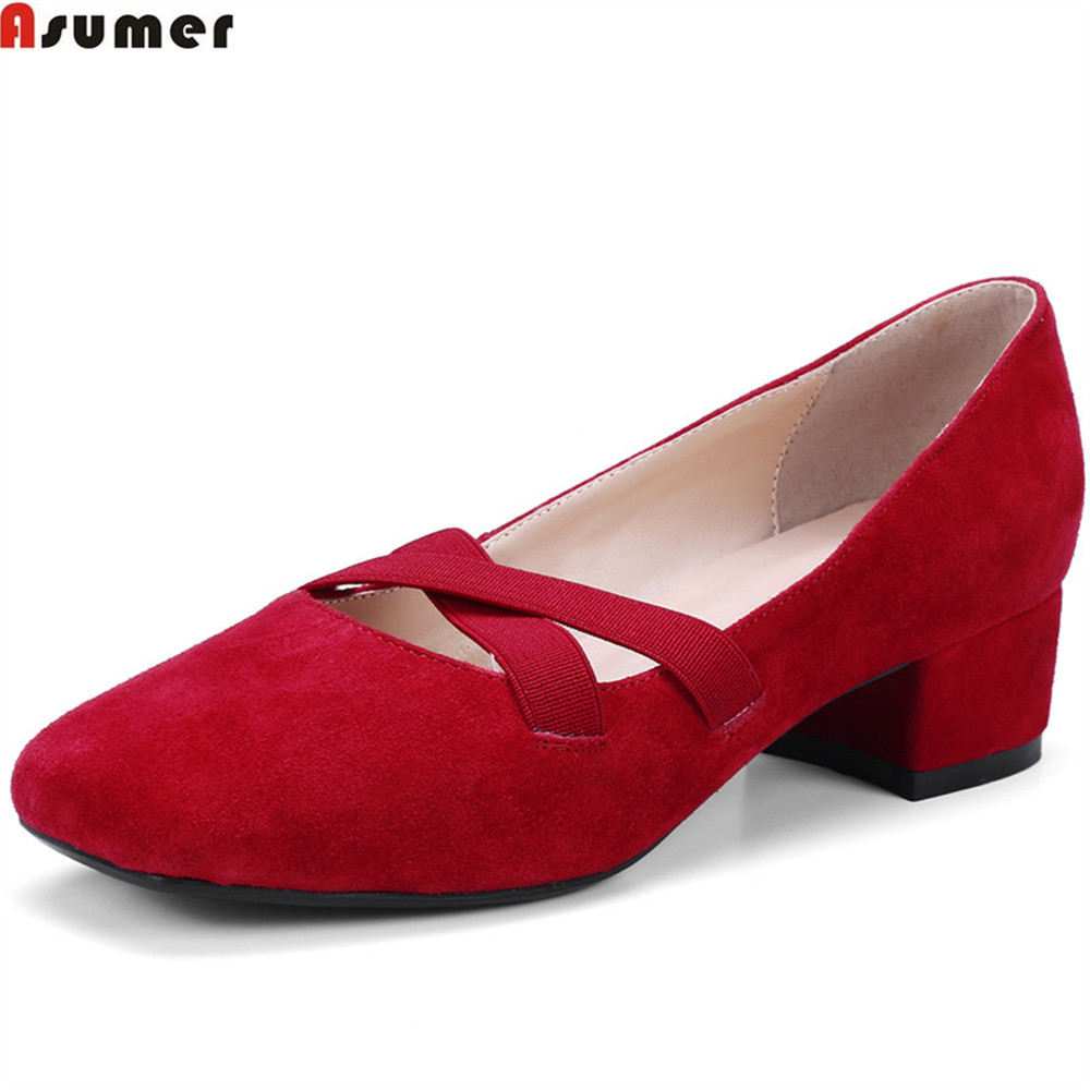 Asumer black red fashion spring autumn women pumps square heel kid suede ladies shoes square toe shallow med heels shoes цена