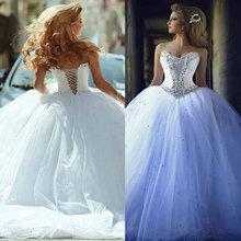 2015 vestido de noiva White Tulle Ball Gown Wedding Dress Said Mhamad Lacing Back Princess Dresses New