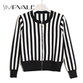 Short Knitting Women Jackets Black White Stripe Jacket Women 2016 Autumn New Arrival Slim Casual Zippers Coat