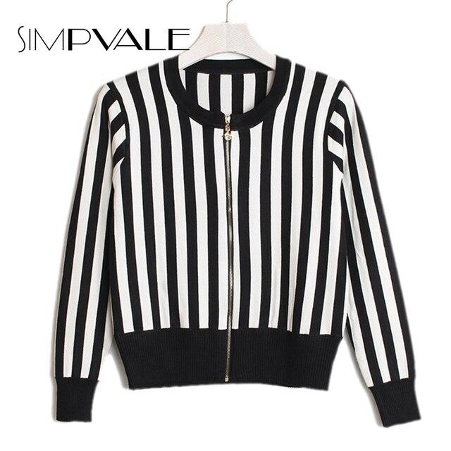 Short Knitting Women Jackets Black White Stripe Jacket Women 2016 Autumn New Arrival Slim Casual Zippers Coat