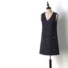 Tweed Áo V-Cổ Đơn