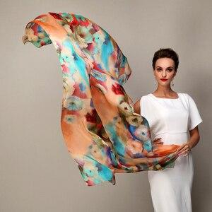 Image 2 - 2016 zima moda damska szalik gorąca sprzedaż jedwab szale szal kobiet długi jedwabny szal niebieski i kawy 180*110cm
