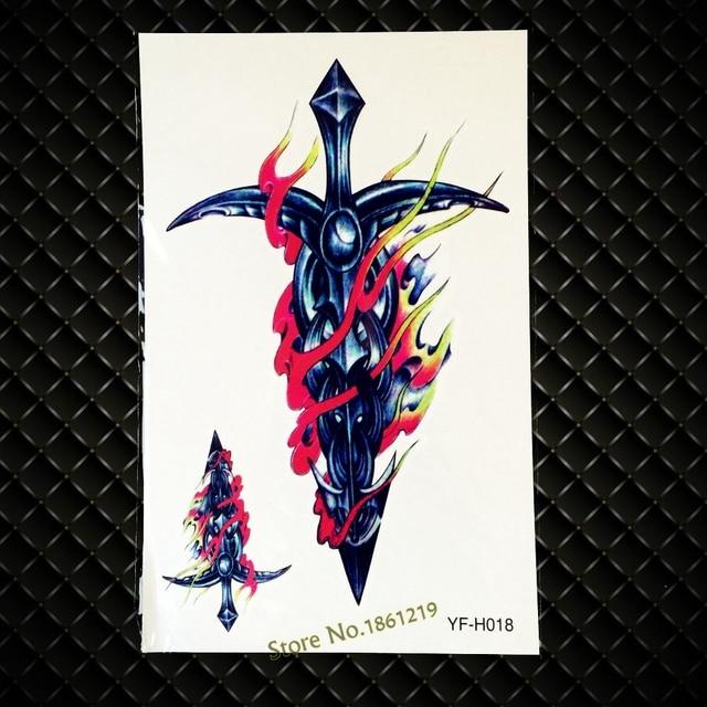 Us 075 10 Off3d Trendy Fajne święty Ogień Miecz Tatuaże Body Broni Naklejki Amen Rmband Tatuaż Tymczasowy Wodoodporny Duży 1912 Cm Dla Kobiet W