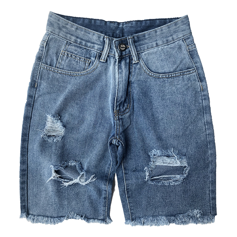 Denim Shorts Mens Jeans Ripped Personal-Trousers Fashion Summer Casual Man Male Leg Burr