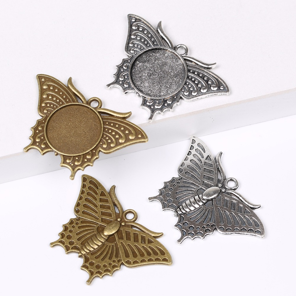 Onwear 5pcs Butterfly Pattern Blank Metal Cabochon Setting 20mm Dia Diy Pendant Base Trays For Necklace Making